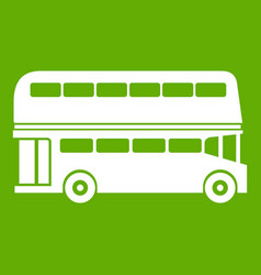 double decker bus icon green vector image