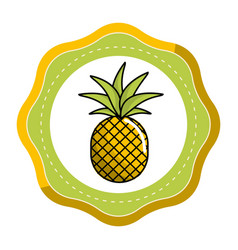 emblem sticker delicious pineapple fruit icon vector image