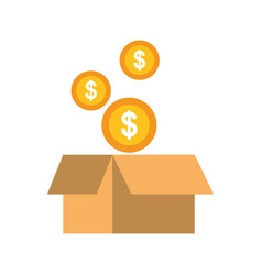 Falling coins money in the cardboard box vector