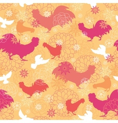 Farm birds seamless pattern background vector