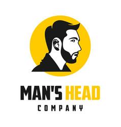 fashion mens hair and beard logo design vector image