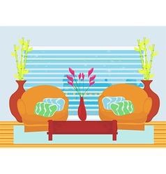 Fashionable interior living room vector