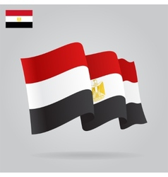 Flat and waving Egyptian Flag vector