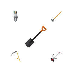 Flat icon garden set of grass-cutter tool cutter vector