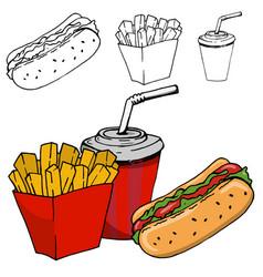 french fries soda hot dog isolated vector image