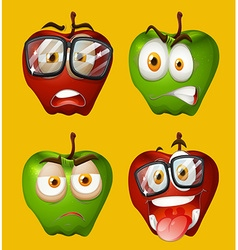 Fresh apples with facial expressions vector