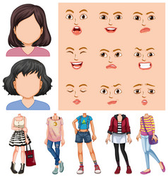girls with different face and boy vector image