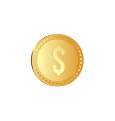 golden metallic dollar coin vector image