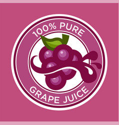 Grape juice label vector