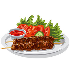 Grilled hot kebabs vector