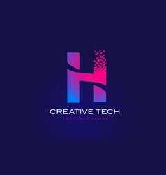 H initial letter logo design with digital pixels vector