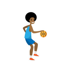 Happy basketball player dribble all opponent team vector