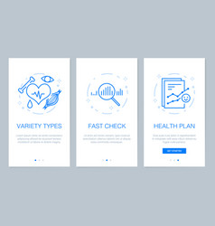Health and medical concept onboarding app screens vector