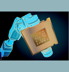 Industrial robot and microchip closeup vector