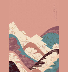 japanese template with cherry blossom flower and vector image