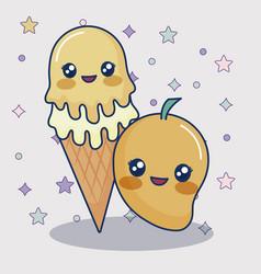 Kawaii mango and ice cream vector