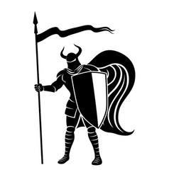 knight with shield and spear vector image