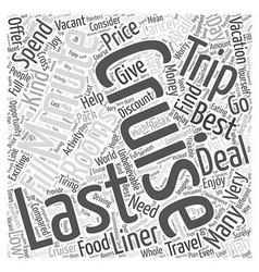 Last minute cruises word cloud concept vector
