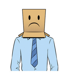 Man with box sad emoji on head pop art vector
