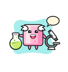 Mascot character marshmallow as a scientist vector