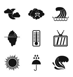 meteorological service icons set simple style vector image