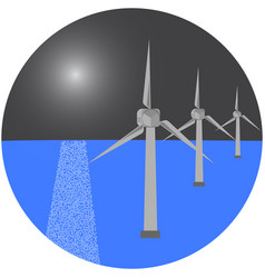 Modern windmills in the sea vector