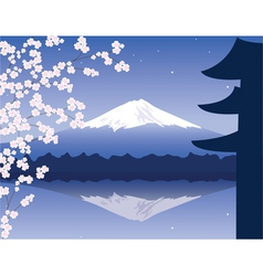 Mount Fuji and sakura vector image