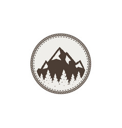 Mountain patch and sticker vintage hand drawn vector
