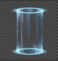 Neon glowing rings futuristic hologram or portal vector