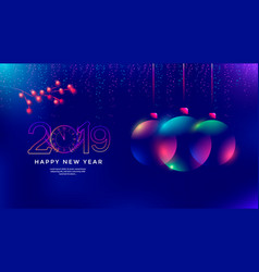 New year greeting card design with christmas ball vector
