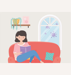 Quarantine stay at home young woman reading book vector