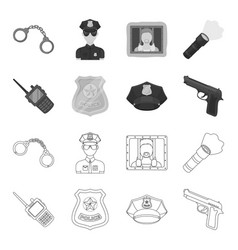 radio police officer badge uniform cap pistol vector image