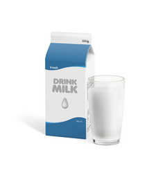 realistic glass of cow milk with milk pack vector image