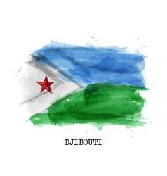 Realistic watercolor painting flag djibouti vector