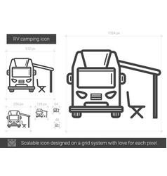 Rv camping line icon vector