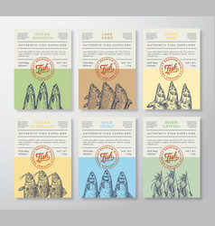 Seafood abstract packaging design or labels vector