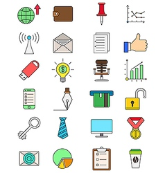 set color business icons vector image
