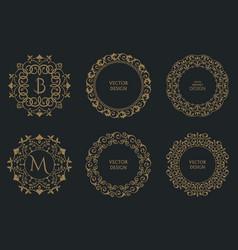 set of circular baroque patterns vector image