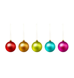Set of color christmas ball on white background vector