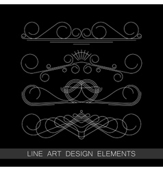 Set of line art border elements for design vector