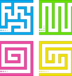 set of small colored mazes vector image