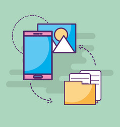 smartphone receiving and sending information photo vector image