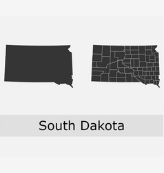 south dakota map counties outline vector image