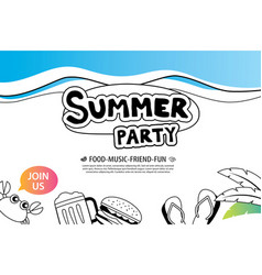 summer party with doodle icon and design on white vector image