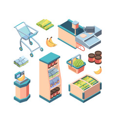 supermarket equipment isometric set shopping vector image