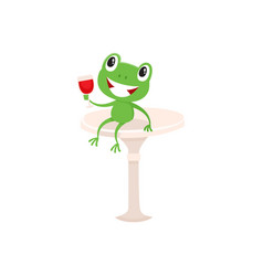 Symbols of french culture - frog and red wine vector