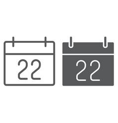 Thanksgiving calendar line and glyph icon vector