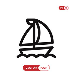 the sail boat icon sailing shipyacht symbol vector image