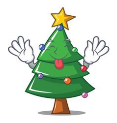 Tongue out christmas tree character cartoon vector