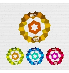 transparent badges colorful set vector image